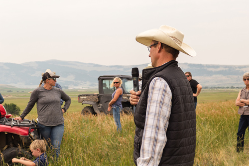 Vance Voldseth discussing irrigation practices at the TG Ranch